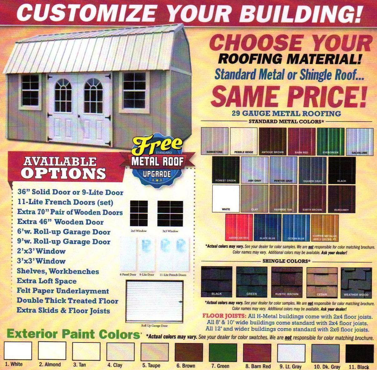 Z Color Chart Derksen Brochure Rent2ownsheds Com
